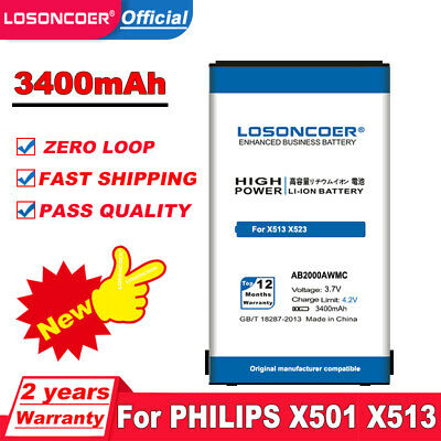 $16.67 • Buy LOSONCOER 3400mAh AB2000AWMC Battery For PHILIPS Xenium X501 X513 X523 X130 X623