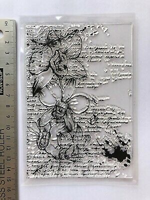 Clear Rubber Stamps Background Flower Script Heart Birthday Clear Out New • 5.98£