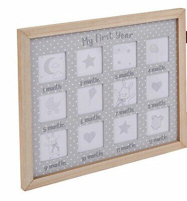 £18.99 • Buy Baby My First Year Photo Frame Newborn To 12 Months Double Wooden Frame