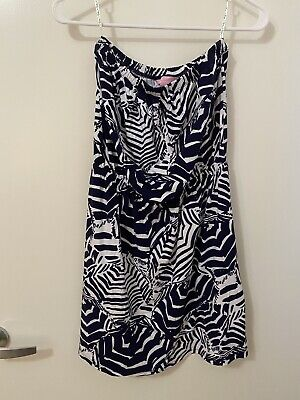 $29 • Buy Lilly Pulitzer Bright Navy Oh Cabana Boy Atwood Strapless Dress Size Small S