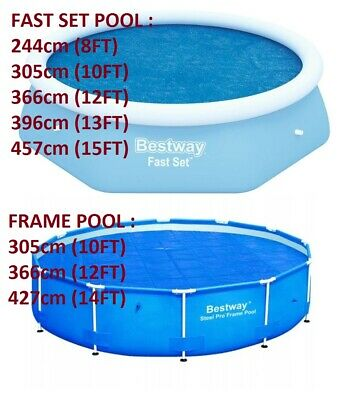 £29.99 • Buy Bestway Solar Cover 8ft 10ft 12ft 13ft 14ft Swimming Pool Inflatable Round Sheet
