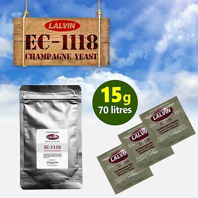 £4.99 • Buy 15 Gram Pack Of Lalvin EC-1118 Champagne Yeast For 70 Litres Of Wine Cider Mead