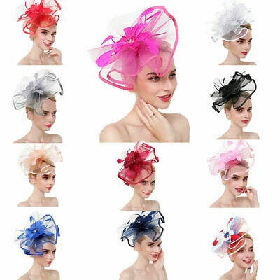 Feather Floral Fascinator Headband Wedding Prom Party • 5.99£