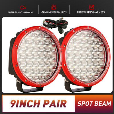 AU105.93 • Buy Pair 9inch OSRAM Round LED Driving Lights SPOT FLOOD Work Offroad 4WD Red Fog