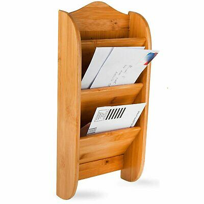 $18.95 • Buy Home Intuition Wall Mount Bamboo Mail Letter Holder Wood Organizer Rack, 3 Slot