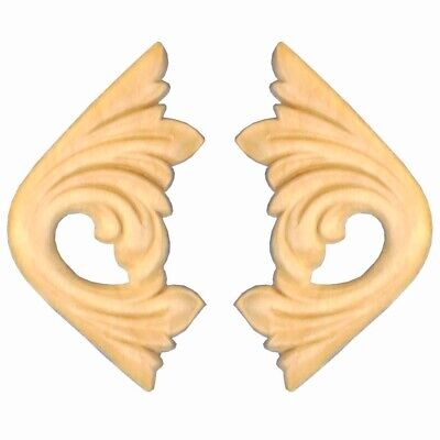 $6.95 • Buy Wood Carvings Unfinished Birch Appliques Decorative Corner Pair 2-3/4  X 2-5/8