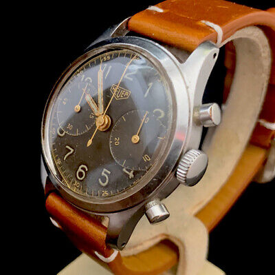$ CDN5721.38 • Buy Heuer Big Eyes Pre Carrera 5408 1940s Vintage Military Chronograph Valjoux 23