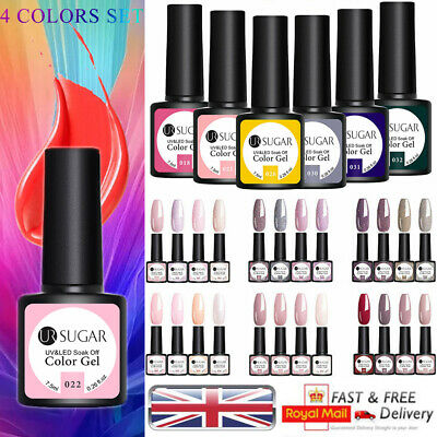 UR SUGAR Manicures Varnish Poly Nail Art Gel 4 Colors Set Soak Off Base Top Coat • 2.99£