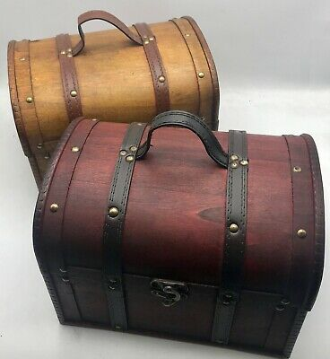 Clearance Rustic Wooden Box Colonial Style Trunk Treasure Chest Vintage Storage  • 9.99£