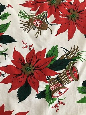 "$ CDN24.99 • Buy Vintage 93"" By 59""  Christmas POINSETTIAS Gold BELLS Ornaments Tablecloth"