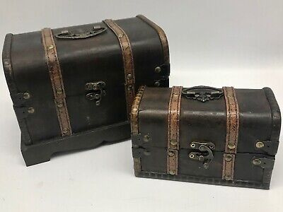 Round Rustic Wooden Box Colonial Style Trunk Treasure Chest Vintage Storage Map • 9.99£
