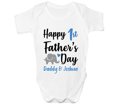£6.99 • Buy First Fathers Day Baby Grow Personalised Vest Elephants Any Name Bodysuit Blue