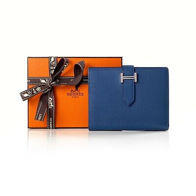 AU1990 • Buy Hermes Bearn Bleu Blue Agate Chevre Mysore Leather Compact Wallet