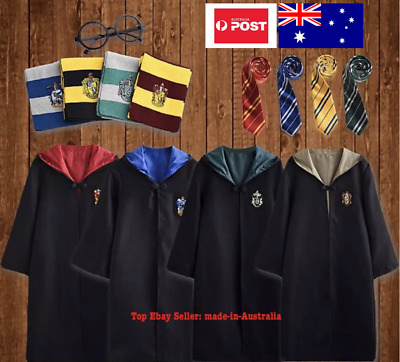 AU27.99 • Buy Kid Harry Potter Costume Robe+Glasses Tie Scarf Halloween Party Boy Girl Cloak