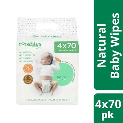 AU16.50 • Buy Tooshies By Tom Organic Hypoallergenic Fragrance Free 280 Baby Wipes 4x70 Pac...