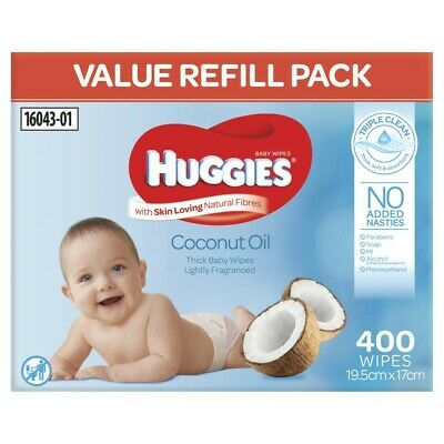 AU15 • Buy Huggies Coconut Oil Lightly Fragranced 400 Thick Baby Wipes 1 Pack