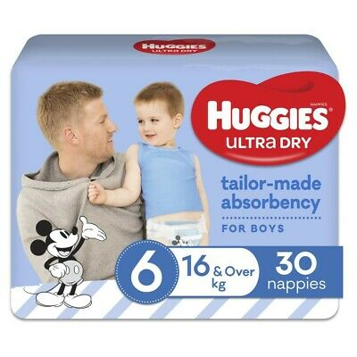 AU16 • Buy Huggies Ultra Dry Nappy For Boys 16 Kg & Over Size 6 30 Pack