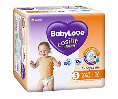 AU83.40 • Buy BABYLOVE Cosifit Walker Nappies 12-17kg (17 Pack X 4), Walker, 68 Nappies