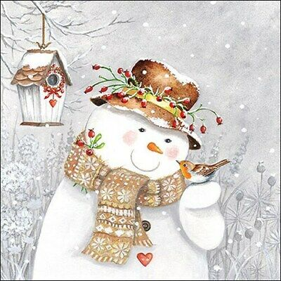 £2.50 • Buy 5 Paper Party Napkins Snowman Holding Robin Pack Of 5 3 Ply Tissue Serviettes