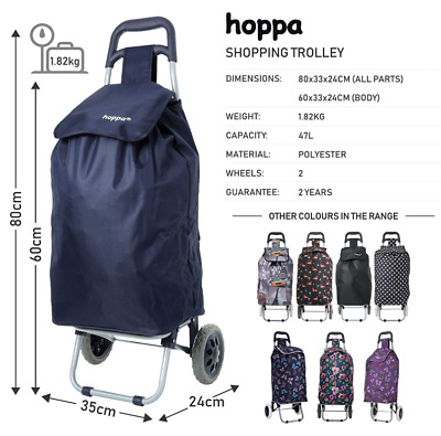 Large Lightweight Wheeled Shopping Trolley Push Cart Luggage Bag With Wheels New • 16.99£