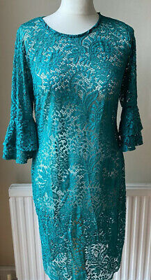 Green Corded Lace Beach Cover Up Frill Sleeve Dress Uk Size 10 • 3.99£
