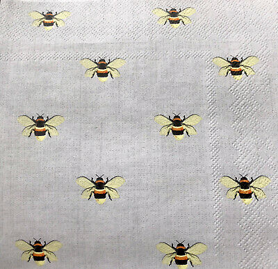 5 Paper Party Napkins Busy Bees Collage Bee Pack Of 5 3 Ply Tissue Serviettes • 2.50£