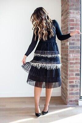 £52.15 • Buy Malka Majesty Ostrich Feather Pleated Skirt