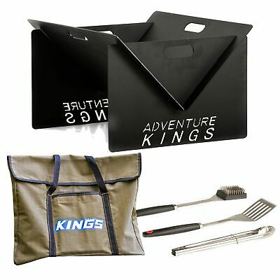 AU139.90 • Buy Adventure Kings Portable Steel Fire Pit + Fire Pit Canvas Bag + BBQ Tool Set