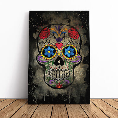 Sugar Skull Tattoo (4) Framed Canvas Print Wall Art Picture Large Home Decor • 19.95£