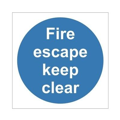 Fire Escape Keep Clear Door Sign 100mm X 100mm • 2£