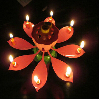 $ CDN6.49 • Buy Romantic Musical Lotus Flower Rotate Happy Birthday Party Gift Candle LightUP
