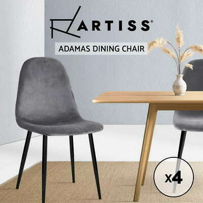 AU112.90 • Buy Artiss Dining Chairs Velvet Seat Cafe Kitchen Chair Modern Iron Leg Dark Grey X4