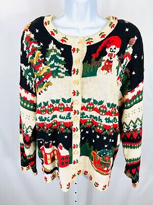 $23.04 • Buy Carly St. Claire Size Large Christmas Holiday Sweater Cardigan Button Down