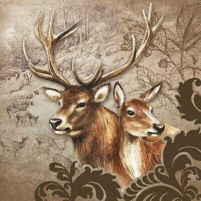 £2.50 • Buy 5 Paper Party Napkins Deer Couple 5 Pack 3 Ply Tissue Serviettes Animals