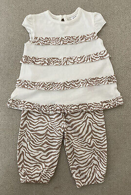 Baby Girls F&f Cream Brown Tiger Animal Print Outfit Trousers 3-6 Months • 4.99£