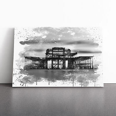 £19.95 • Buy West Pier Brighton V3 Framed Canvas Print Wall Art Picture Large Home Decor