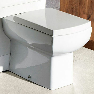 Back To Wall Pan Square Designer Modern Toilet BTW Compact Soft Close Seat • 119£