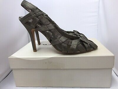 Bourne Gwen Peep Toe Shoes With Heel UK 6.5 Taupe Satin • 13.99£