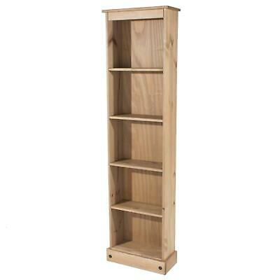 5 Tier Solid Pine Bookcase Tall Narrow Display Shelving Storage Wood Furniture • 59.99£