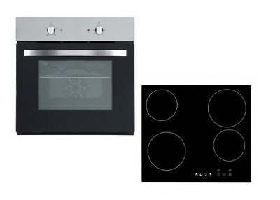 Cookology 60cm Stainless Steel Single Electric Fan Oven & Ceramic Hob Pack • 249.99£