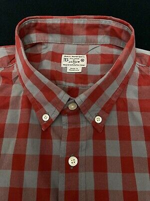 $14.95 • Buy J.CREW Red Gray Gingham Button Down Shirt XL Extra Large