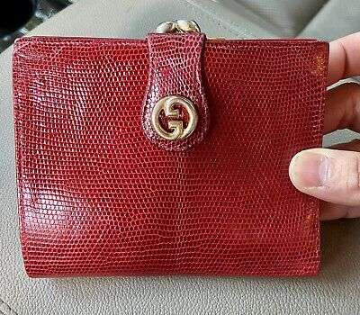 $125 • Buy Very Rare Authentic Vintage Gucci Lizard GG Wallet With Coin Purse Red Burgundy