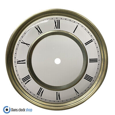 £5.99 • Buy New Round 180mm Metal Clock Dial Face Black Roman Numerals Gold & White Face