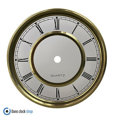 £5.99 • Buy New Round 150mm Metal Clock Dial Face Black Roman Numerals Gold & White Face