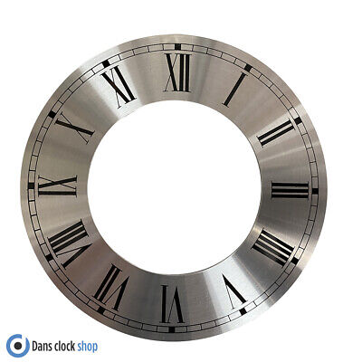 £5.99 • Buy New Metal Silver Chapter Clock Dial Ring 165mm Outer Ring - Black Roman Numbers