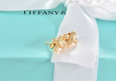 £425.89 • Buy Tiffany & Co 18k Yellow Gold  X  Signature Stud Mini Earrings And Packaging Rare