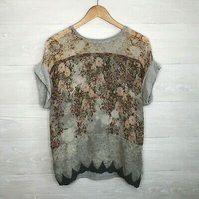$17.99 • Buy Zara WB Collection Womens Sz Large Gray Floral Short Sleeve Top Blouse