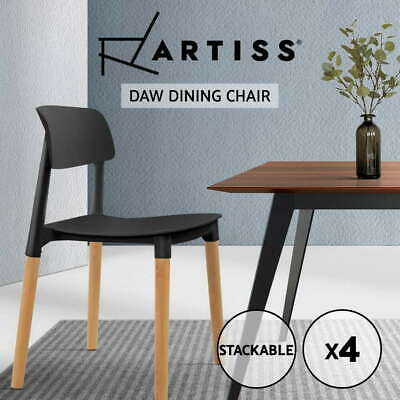 AU117.50 • Buy Artiss 4x Belloch Replica Dining Chairs Stackable Chair Wood Leg Kitchen Cafe