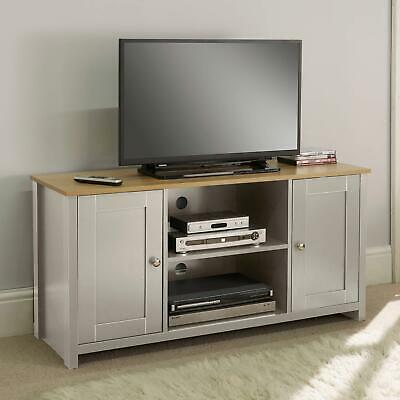 £89.99 • Buy Grey Oak TV Stand Two Tone 2 Door Cabinet Television Unit Open Shelf Cable Tidy