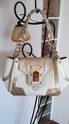 Stuart Weitzman / Russell & Bromley Ivory Patent Leather & Gold Bag • 149£